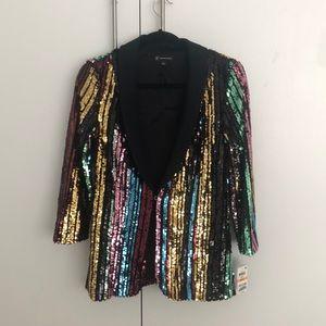 Multicolor sequin INC blazer jacket  NYE Party NWT